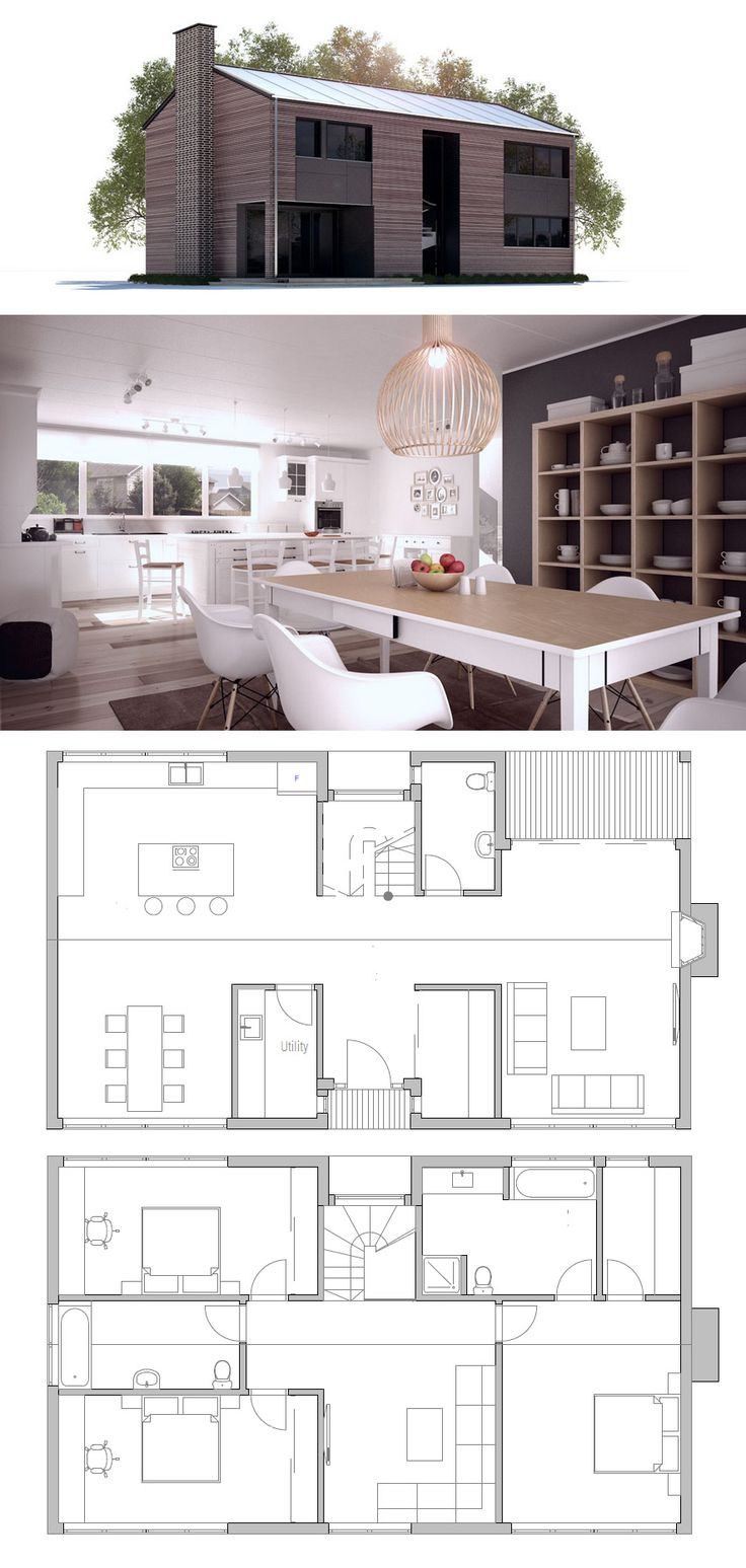 Small House floor plan with three bedrooms