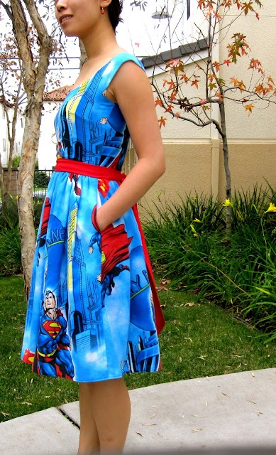 Super cute Superman dress, with pockets!