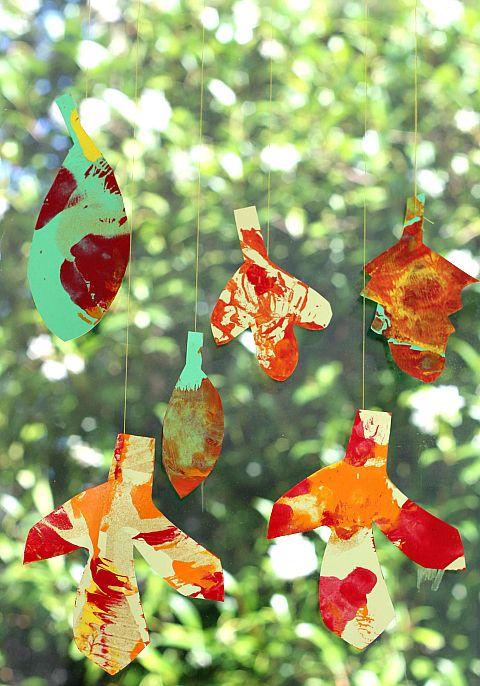 Spin painted leaves for children fall art project.