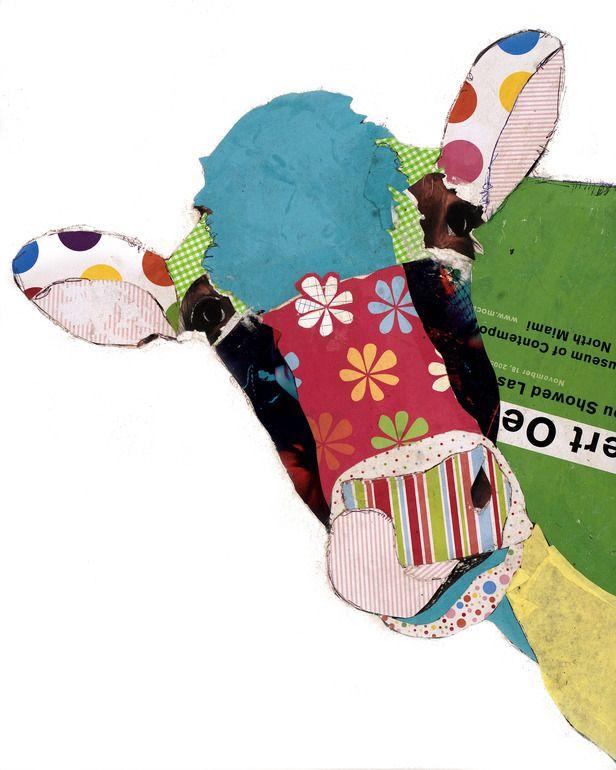 "Saatchi Online Artist: Michel Keck; Paper, 2013, Assemblage / Collage ""Cow I"""