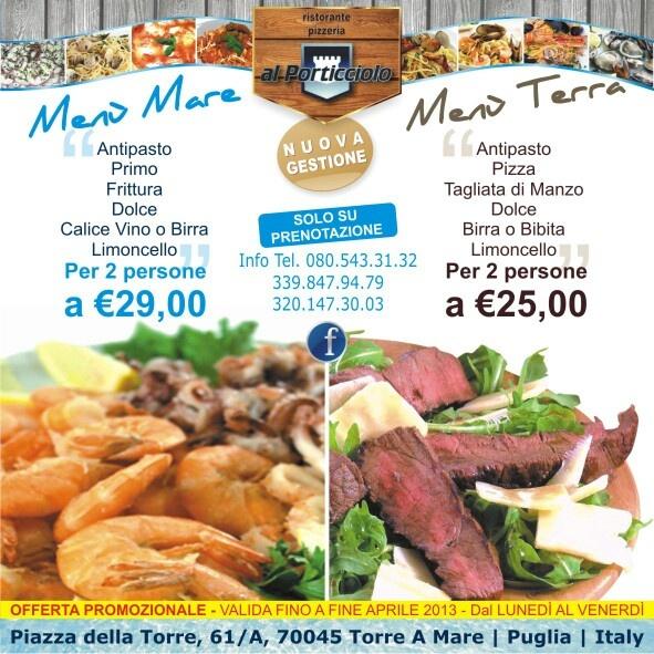 A pranzo...polpo arrosto...pesce fresco...frittura di pesce....Menù Mare....Menù Terra....pizza...vista mare....Al Porticciolo - Torre a Mare - Bari