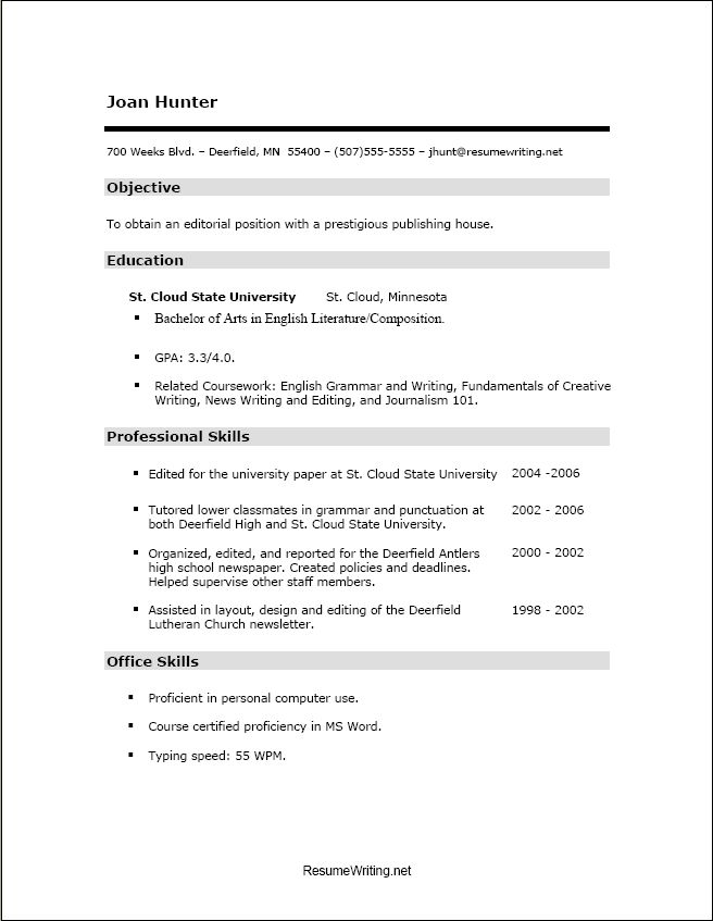 Resume Template Job » Example Job Resumes