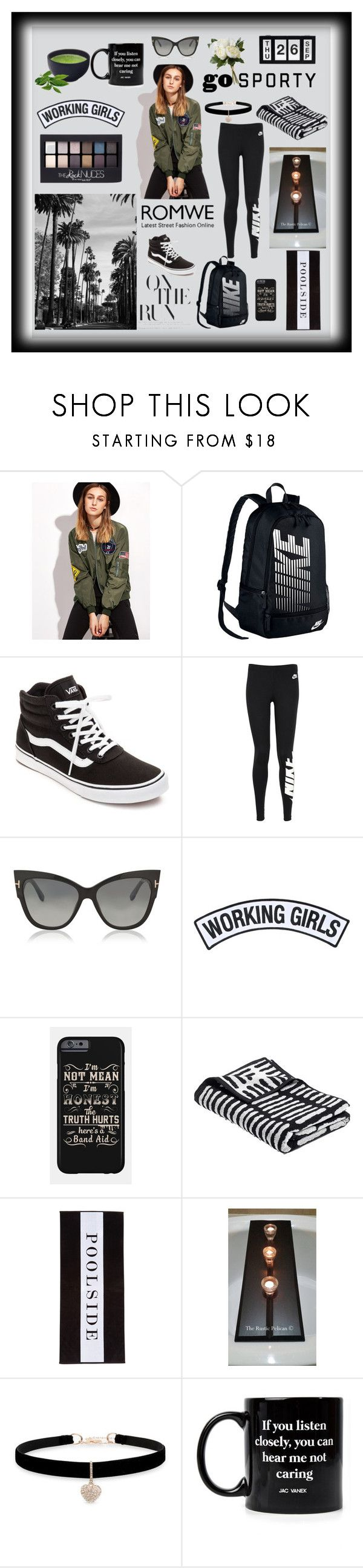 """""""With ROMWE"""" by explorer-14673103603 on Polyvore featuring NIKE, Vans, Maybelline, Tom Ford, Working Girls, Chance, Betsey Johnson, Jac Vanek and National Tree Company"""