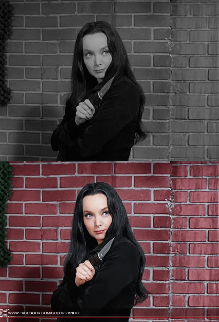 Carolyn Jones (April 28, 1930 – August 3, 1983). she was lovely Morticia Addams in the television series The Addams Family. www.facebook.com/colorizando