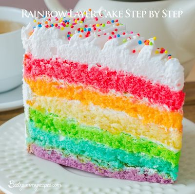 Rainbow Layer Cake Step by Step - http://www.thinkarete.com/rainbow-layer-cake-step-by-step/