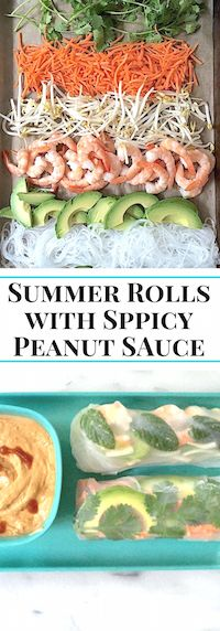 Make-Your-Own Summer Rolls with Spicy Peanut Sauce. You set up the fixings, everyone gets to make their own. Mom's Kitchen Handbook
