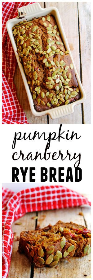 Whole wheat pumpkin cranberry rye bread! A healthier take on the classic pumpkin quick bread using whole wheat dark rye flour. Moist and delicious!