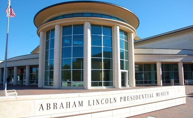 The Abraham Lincoln Presidential Library & Museum, located in Springfield, Illinois, includes a 40,000-square-foot museum that houses historical artifacts, a theater, and a recreation of the log cabin Lincoln grew up in. (From: Photos: Your Picks for 15 Places Every Kid Should See)