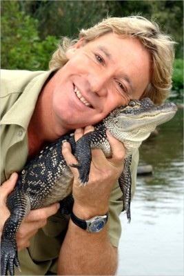 Steve Erwin with small crocodile