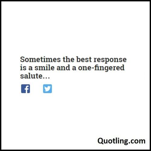 Sometimes the best response is a smile and a one-fingered salute - Another Sarcastic Quote By Quotling.com The Quotes That You Love.