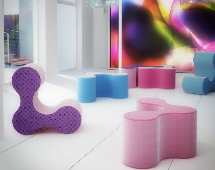 Futuristic interior. Poufs project: Agnieszka Dolska. Fabrics design: Karim Rashid #microfibres #modern #pastel #glamorous #performancefabrics #printingtechnology #futuristic