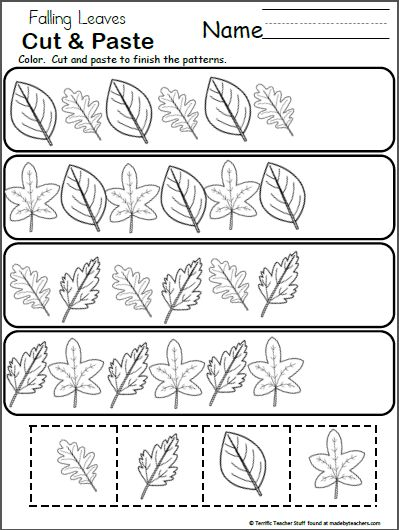 Free Pattern Worksheet for Kindergarten - Fall Leaves