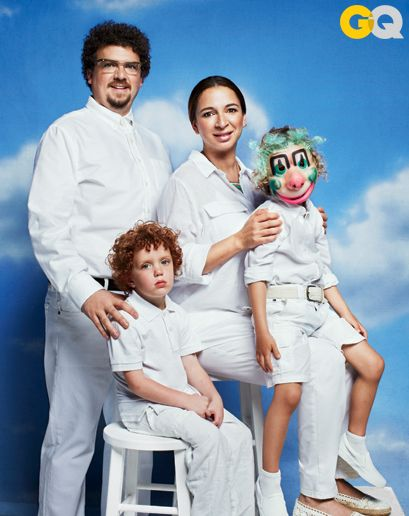 danny mcbride and maya rudolph recreate awkward family photos for GQ.
