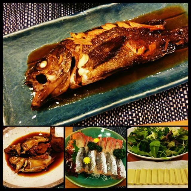 魚の煮付けとご飯と味噌汁を欲したので、今日は和食!!  ・メバルの煮付け ・ハタハタの煮付け~ブリ子たっぷり~ ・鯵と鰤の刺身 ・グリーンサラダ ・カニ味噌豆腐 ・さつま揚げ甘辛煮、ナスとピーマンの味噌煮 ・エノキと海苔の味噌汁 - 105件のもぐもぐ - メバルの煮付け by ケイ