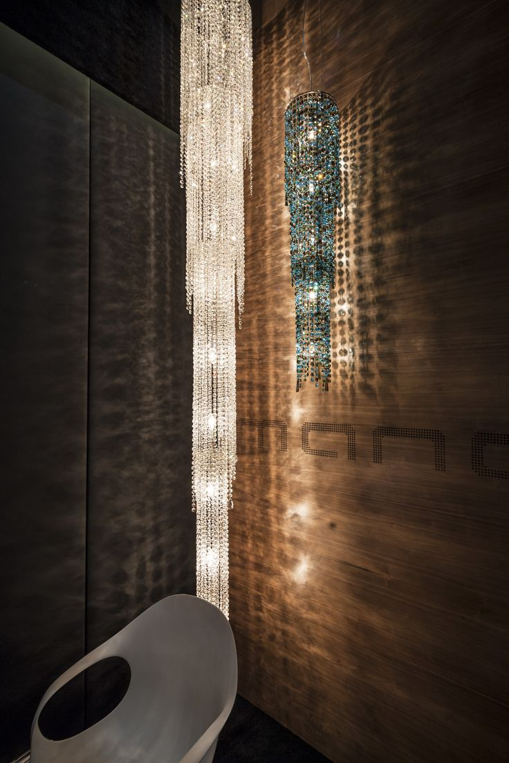 Unique in the Manooi product range because of its vertical arrangement, Fjord is a vibrating waterfall of crystal, sparkling and illuminating the staircases and atriums in which it is installed. Used independently, or as part of a group installation, Fjord dazzles the eye of the beholder.  Fjord can be ordered in 3 different versions: ceiling, pendant and floor, making it an extremely versatile design. #Manooi #Chandelier #CrystalChandelier #Design #Lighting #Fjord #luxury #furniture