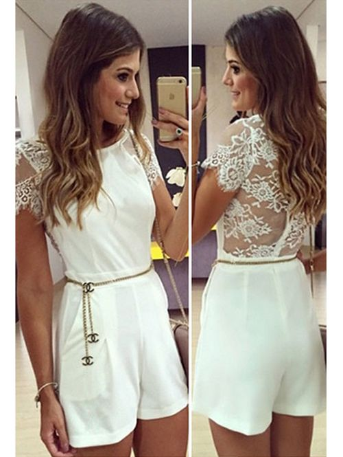 Wholesale Europe lace stitching solid casual women jumpsuit YR-LC60115 - Lovely Fashion