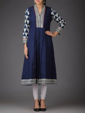 Blue - Ivory - Ecru Natural Dyed Ajrakh Cotton A-Line Kurta with Dupatta (Set of 2)