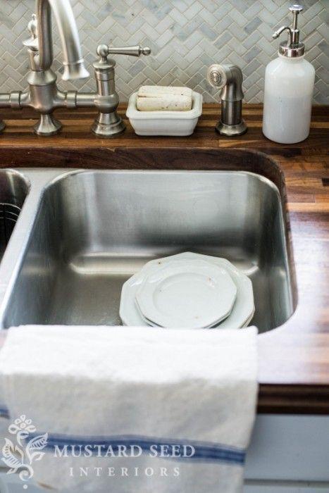 Butcherblock counter with that beautiful marble herringbone backsplash bitchin 39 kitchen - Marble chopping block ...