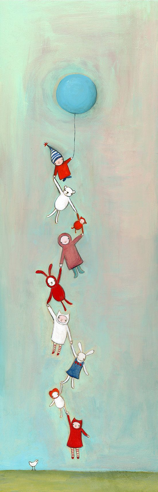 """Lovely Illustration """"We all fly together"""" Growth Chart Made by creativethursday for sale on Etsy"""