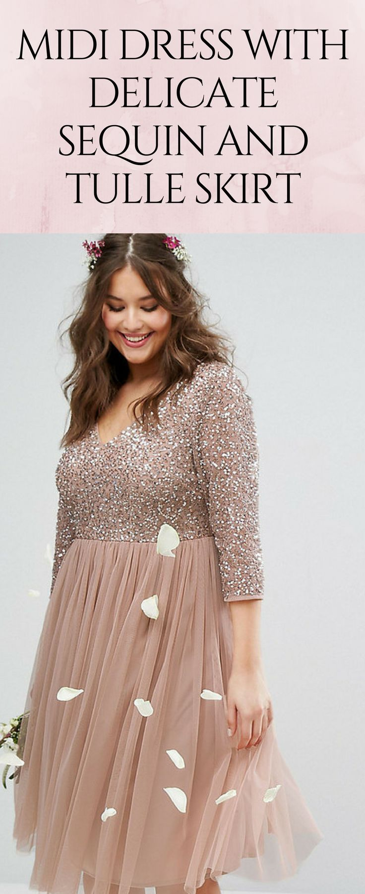 65d347d0 Midi dress with delicate sequin bodice and tulle skirt in pretty, neutral