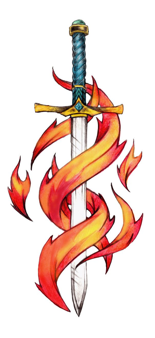 Colored Tattoo Sword By Hammermario On Deviantart Design 605x1321 Pixel