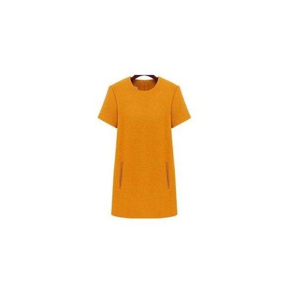 Short-Sleeve A-Line Dress (39 BAM) ❤ liked on Polyvore featuring dresses, women, short sleeve dress, short sleeve a line dress, a line dress and orange dress