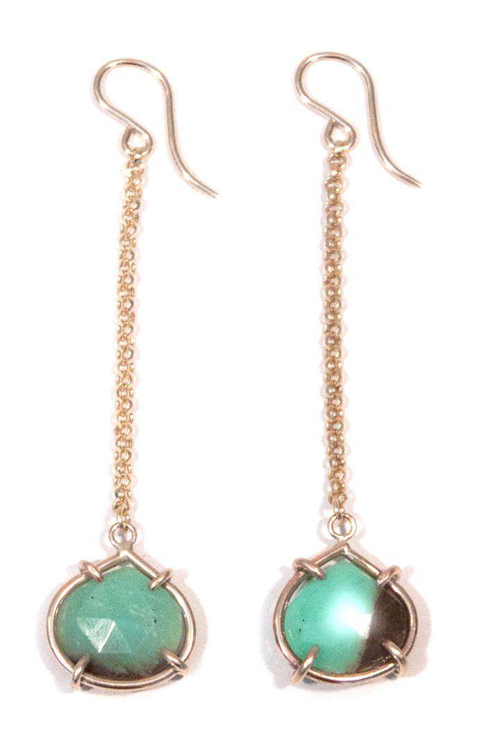 Chrysoprase Prong Set Earrings