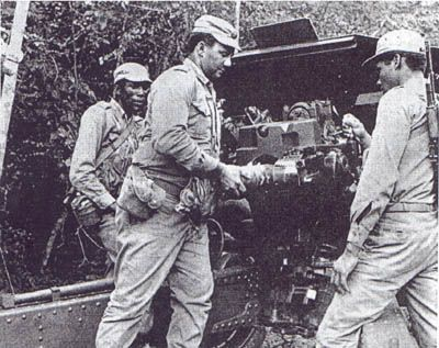 Cuban artillery crew in action in Angola.
