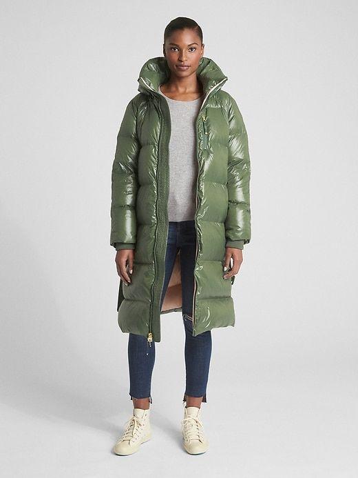 7022e3385 Gap Womens Long Down High-Shine Puffer Coat Jungle Green | Products ...