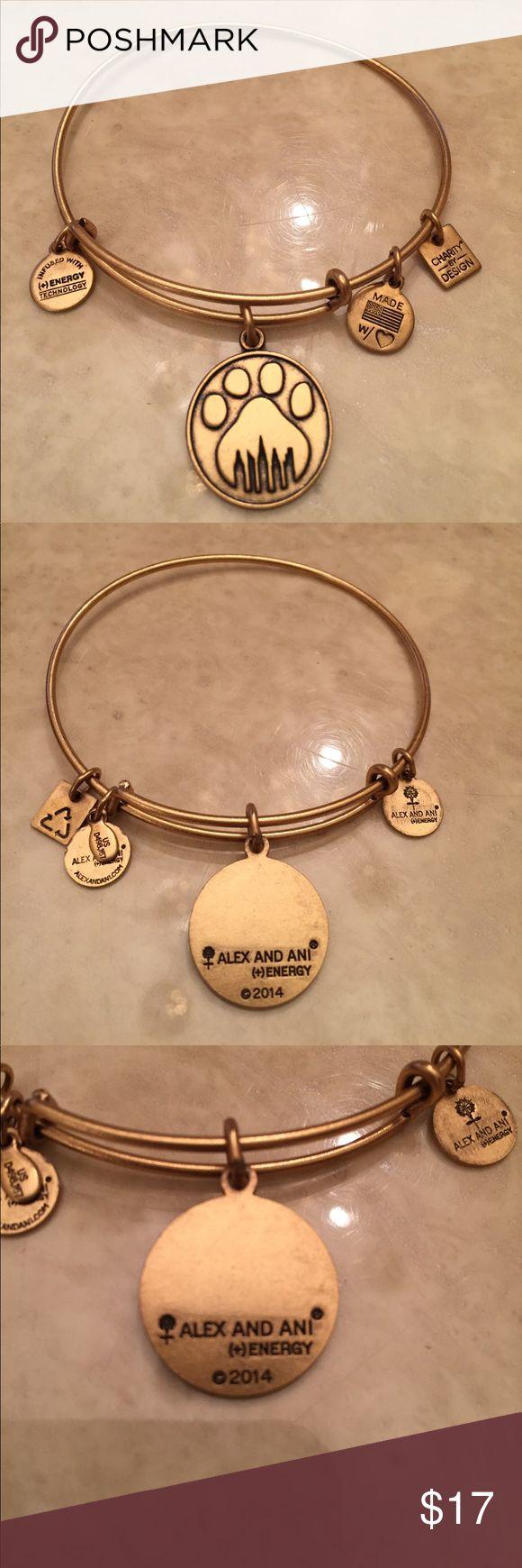 ALEX & ANI PAW PRINT BRACELET Alex & Ani paw print bracelet in gold..worn only a few times..in excellent condition..refer to pics.. Alex & Ani Jewelry Bracelets