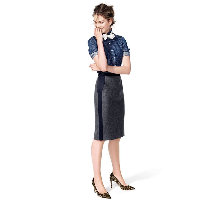 J.Crew: Looks We Love : BOY SHIRT IN EMBROIDERED POLKA DOT, NO. 2 PENCIL SKIRT IN TIPPED DOUBLE-SERGE WOOL, POINT BOW TIE IN WHITE SATIN