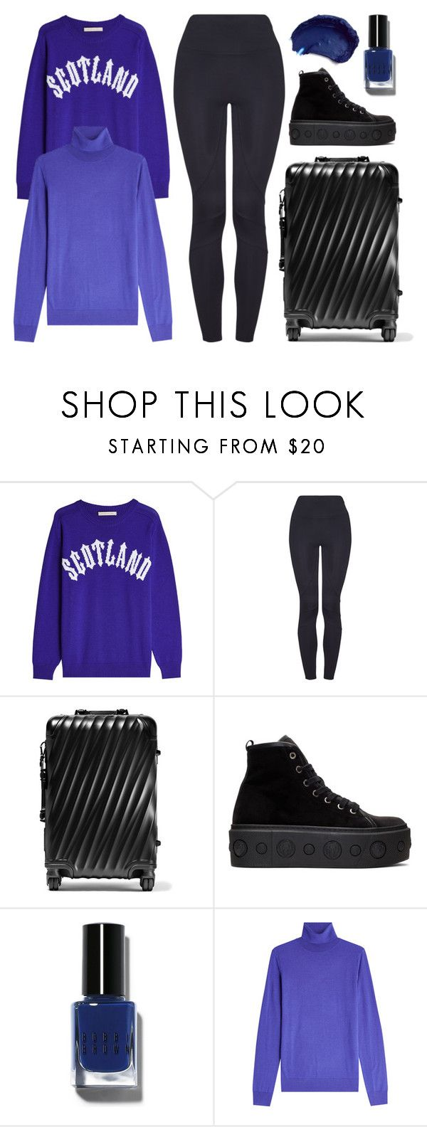 """Travel Attire"" by cherieaustin ❤ liked on Polyvore featuring Christopher Kane, Tumi, Versus, Bobbi Brown Cosmetics and HUGO"