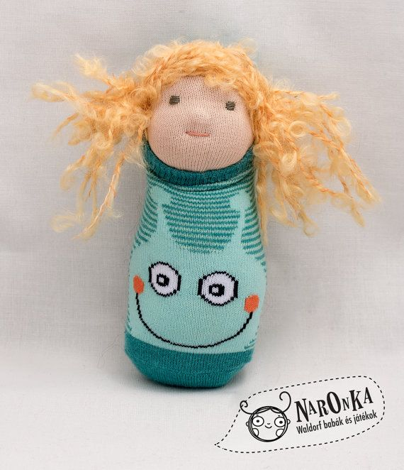 Waldorf doll  Pocket doll  Curly blond hair  Green by naronka