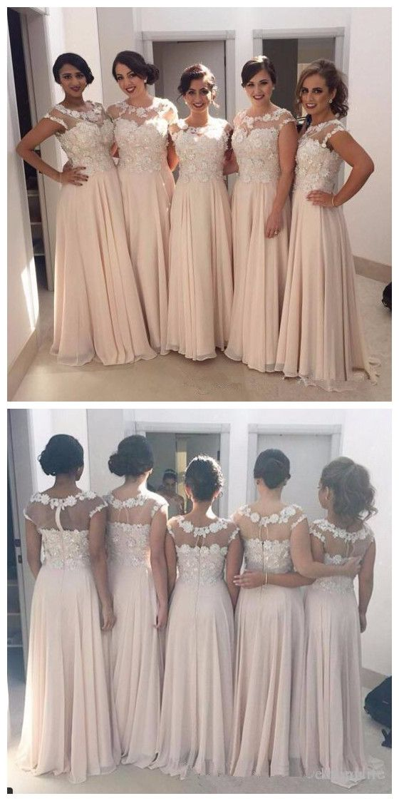 Sheer Neck Cap Sleeves A Line Chiffon Bridesmaid Dresses Lace Appliqued Flower Top Long Maid Of Honor Gowns Cheap Wedding Guest Dresses