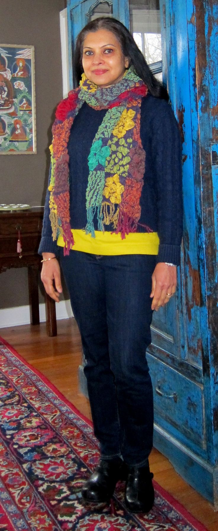 Budget style: Mango wool blend sweater, Uniqlo fleece top, Gap jeans, Dansko clogs and knit scarf from India - 2018