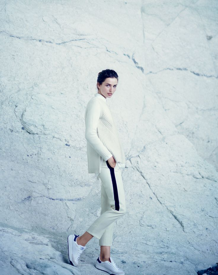 J.Crew women's pointelle sweater, collection cropped tuxedo pant, and Adidas Rod Laver sneakers.
