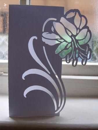 FLORAL 4 OVER THE EDGE CARD on Craftsuprint designed by Clive Couter - gsd files; with optional shaped backing plate - Now available for download!