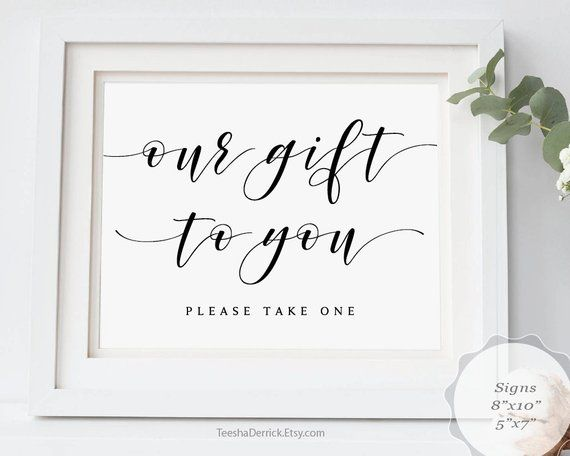 Our gift to you, wedding sign, Printable PDF graphic template