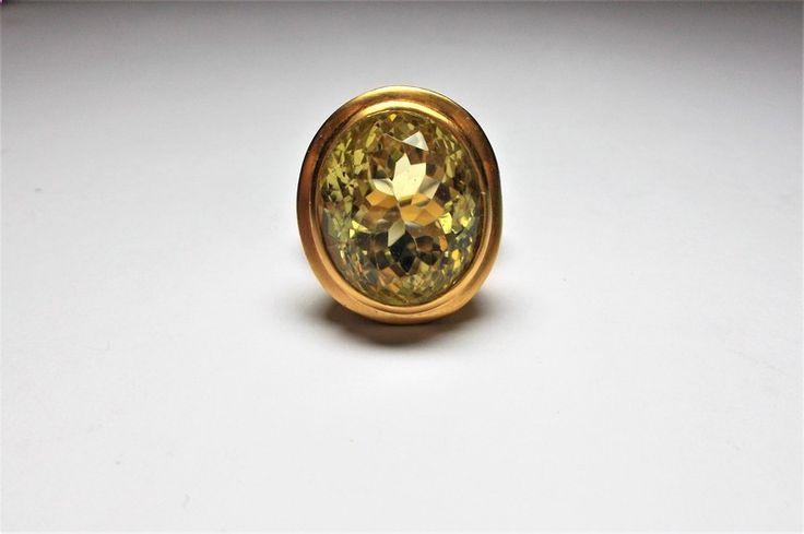 Citrin - Statement Ring 925/750GG PL Lemon Citrin - ein Designerstück von schmuckbewusst-woman bei DaWanda