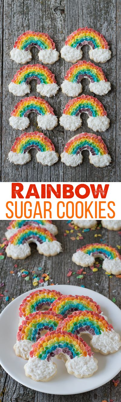 Rainbow Sugar Cookies - use fruity pebbles and shredded coconut to make rainbow cookies!