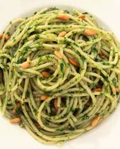 Paired with a bottle of wine it makes an easy dinner. I usually buy my pesto pre-made. But a recipe can be found at http://italianfood.about.com/od/greenvegetable/r/blr0011.htm. Enjoy!