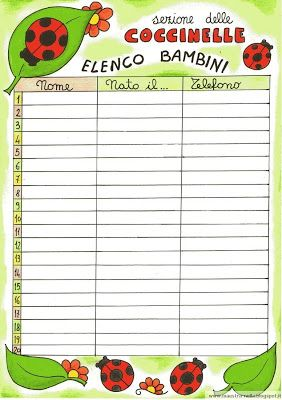 maestra Nella: elenco alunni per la sezione delle coccinelle