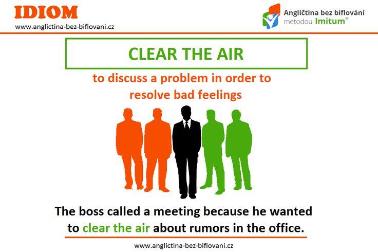 """Pokud je na pracovišti nebo kdekoliv jinde dusno, je třeba jednou za čas pořádně """"vyčistit vzduch"""". 🗣👥💨 #anglictina #idiom"""