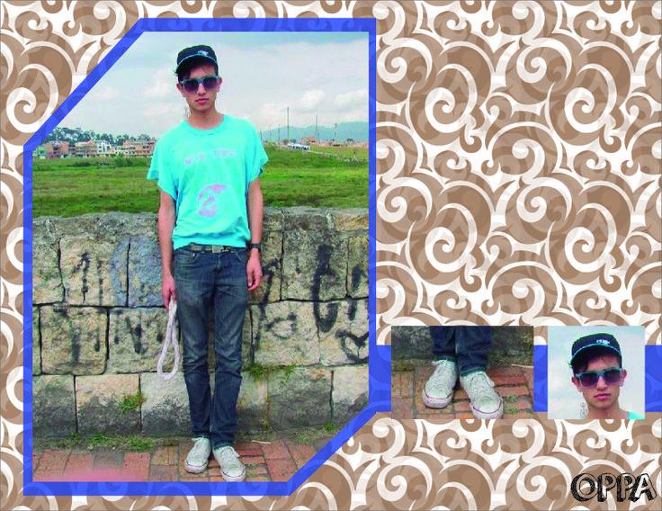Colores pasteles: camiseta siendo el elemento más sobresaliente con un color azul (Pantone process cyan), jean gris (Pantone cool Gray 11) y unos tennis blancos.