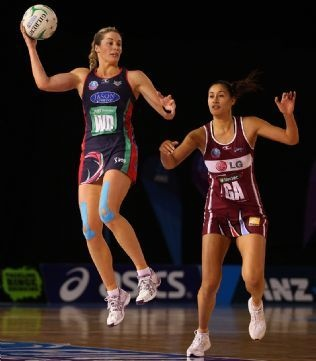 Julie Corletto  controls the ball during the Vixens' semi-final win against the Mystics at Rod Laver Arena Pictures: Getty Images