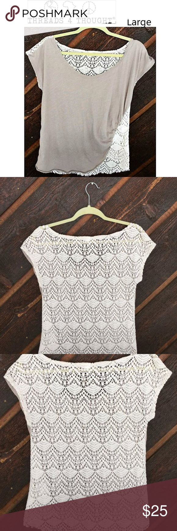 "Threads 4 Thought Crocheted back large Tee Large Threads 4 Thought crocheted back beige Tee with cap sleeves. Front Body is made of 60% organic cotton and 40% polyester.  Back is 85% cotton and 15% polyester.  17"" pit to pit and 24"" length EUC Threads 4 Thought Tops Tees - Short Sleeve"