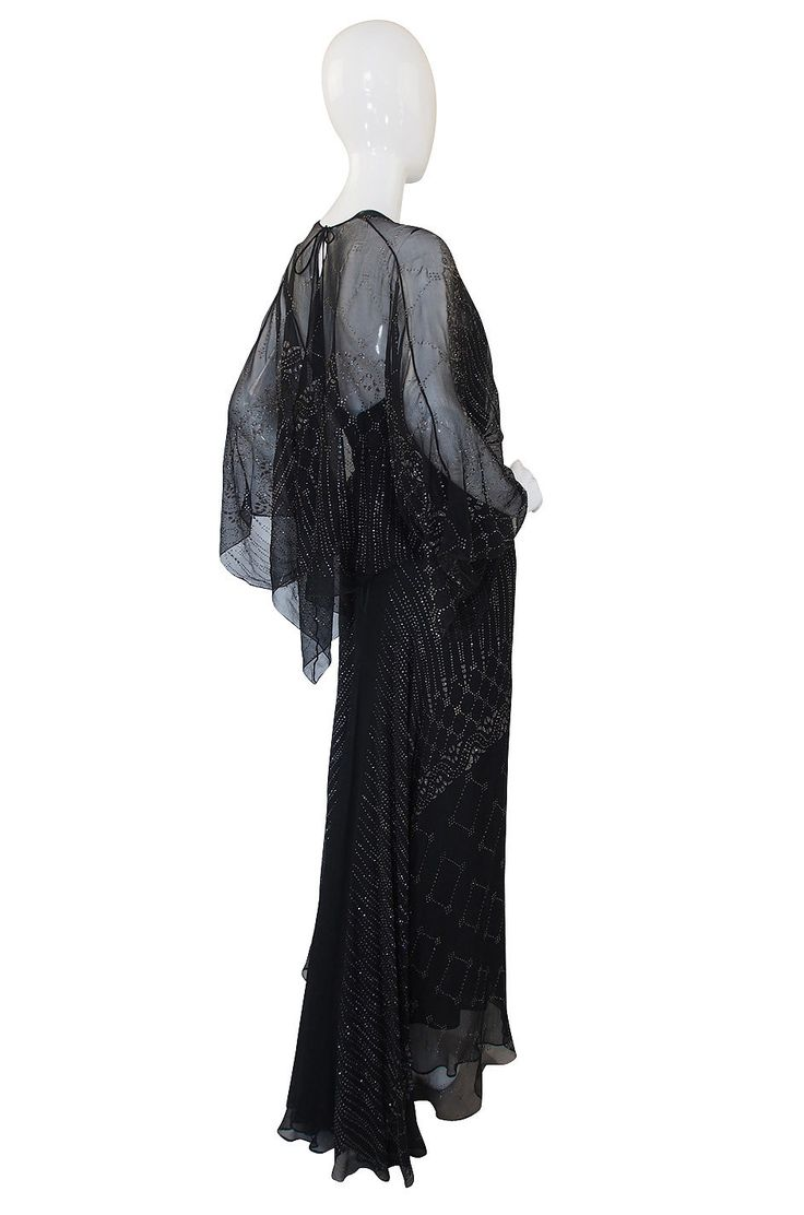 1970s Glitter & Silk Gina Fratini Trained Gown