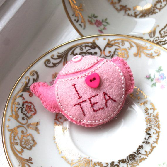 I Love Tea hand embroidered teapot brooch felt by BeadedGardenUK