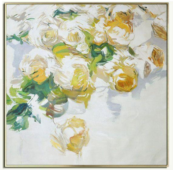 resumen flores pintura al leo sobre lienzo arte por