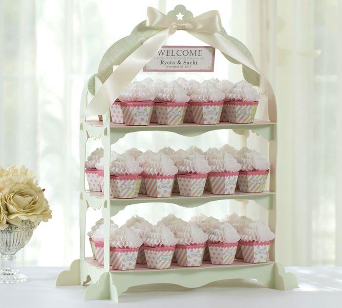 ウェルカムカップケーキ(42個セット) プチギフト/ウエルカムオブジェ/ウエディング/クッキー/ピンク